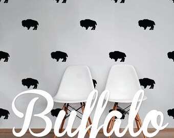 Buffalo Wall Decal Pack, Animal Vinyl Wall Sticker Decal Art Pattern WAL-2228