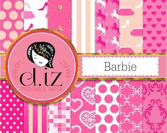 Hot pink digital paper, 'Barbie' digital paper in hot pink backgrounds x 14
