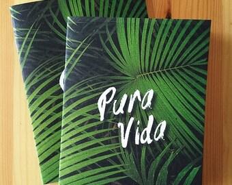 Pura Vida Lush Jungle stapled travel notebook, Costa Rica, Lush, Tropical, travel journal, travel sketchbook, eco-friendly journal, bullet