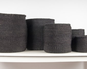 USIKU: Black Coal Woven Storage Basket