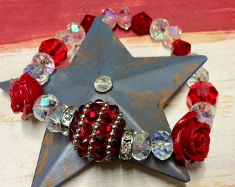 Red rose and crystal beaded stretch bracelet