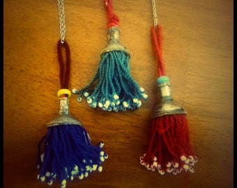 Beaded Tribal Tassel Necklace Kuchi Tribe Bohemian Jewelry