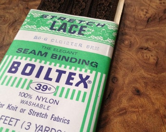 Vintage Seam Binding, chocolate brown lace