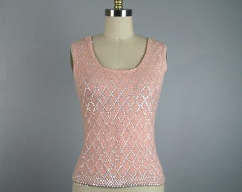 CLEARANCE // Vintage 1960s Pink Knit Shell top with Opalescent Sequins 60s Blouse Size 6 S/M