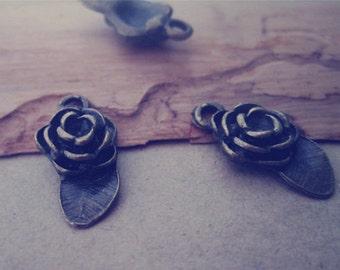 25pcs of  Antique bronze Rose  pendant charm 10mmx19mm