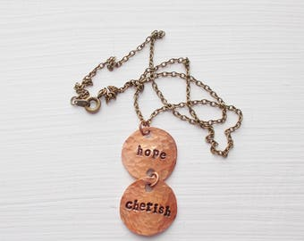 Hand Stamped Double Lucky Penny Pendant Necklace Antiqued Brass Chain Smashed Copper Coin with Inspirational Words