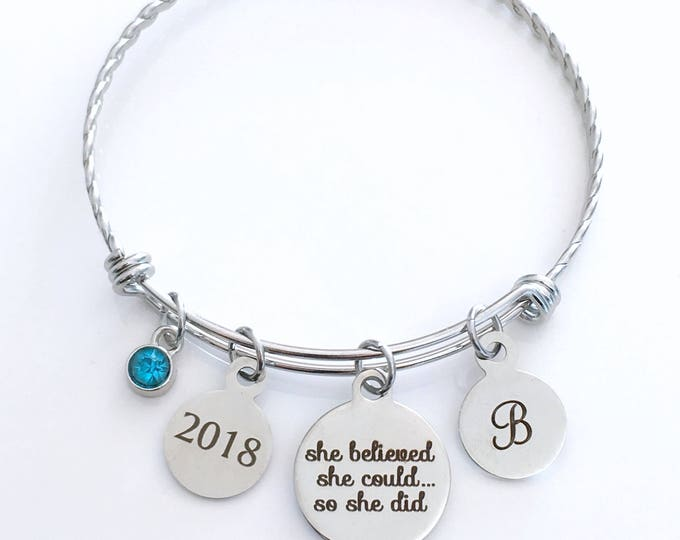 Featured listing image: She believed she could so she did Bracelet, 2018 Stainless Steel Charm Bangle, Grad Script font Jewelry Gift for retirement Graduation 2019