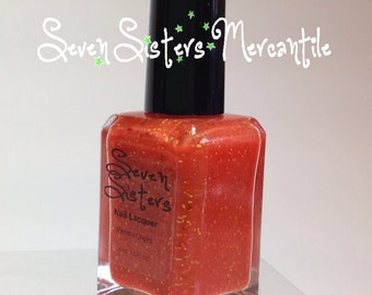 Tiger Lily - Seven Sisters Nail Lacquer  - 15 mL 0.5 Fl Oz. - Neverland Collection - Orange Shimmer Glitter Nail Polish