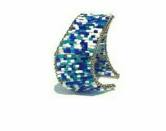 Blue and White  Beaded wire wrap steel cuff