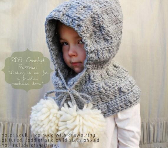 Crochet Pattern The Celeste Hooded Cowl Toddler Child