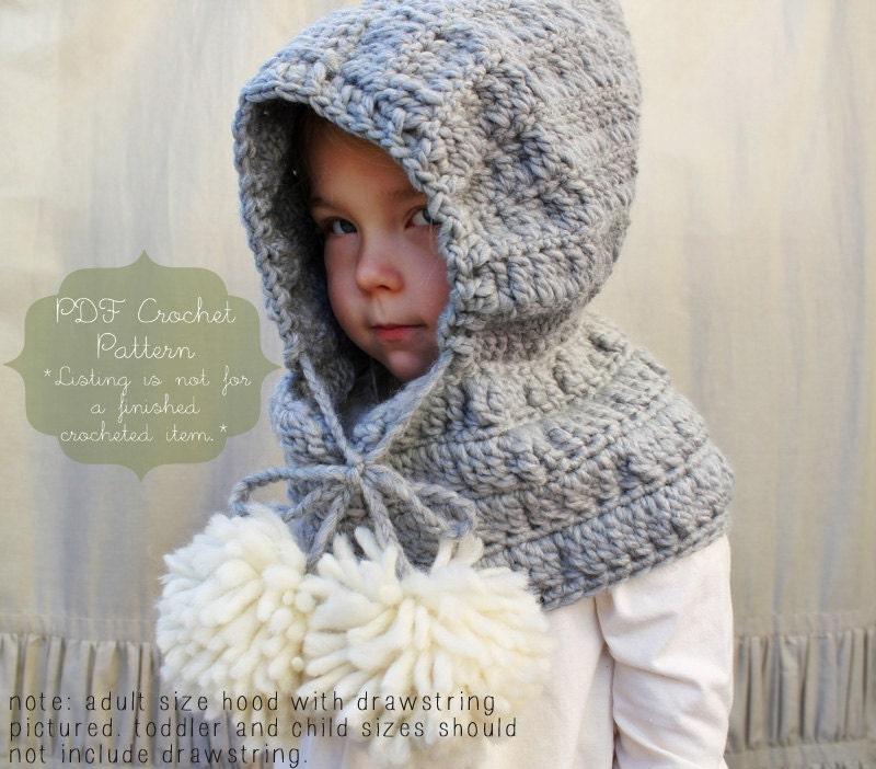 Crochet Pattern: The Celeste Hooded Cowl Toddler Child &