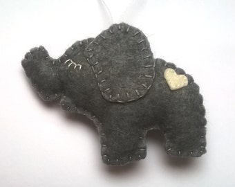 Felt nursery decor - Baby elephant ornament - Christmas decoration - shocking supplies gift idea Baby shower ornaments - housewarming