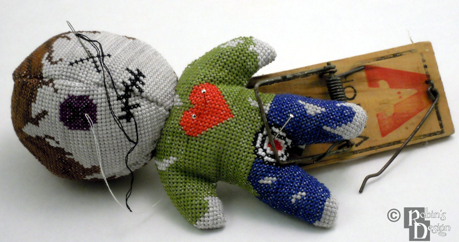 Voodoo-Puppe Pin Cushion 3D Cross Stitch Schnittmuster PDF