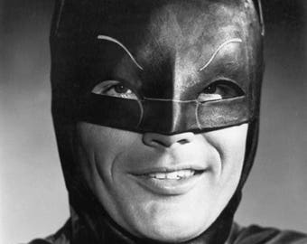 Adam West #8, Batman publicity portrait, Robin, Burt Ward, DC, Gotham City, Batmobile, Joker, black & white photo, photograph fine art print