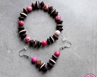 Set bracelet and earrings in pink Jasper and wood