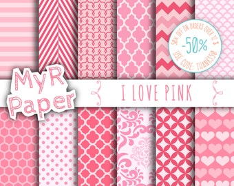 "Pink digital paper: ""I LOVE PINK""  pack of backgrounds and patterns with  chevron, polka dots, stripes, dots, damask, quatrefoil, hearts"