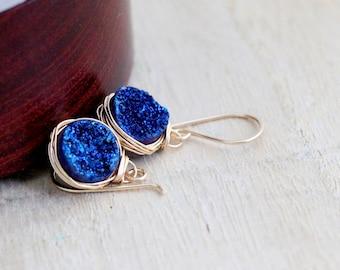 Druzy Dangle Earrings , Blue Drop Gold Edged Modern Fashion , Rose Gold , Sterling Silver , Druzy Jewelry