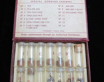 Vintage Antique Box Longines Wittnauer Lecoultre crowns Vials Steampunk Altered Art Industrial Mixed Media