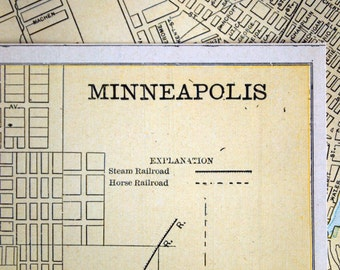 1889 Antique City Map of Minneapolis, Minnesota