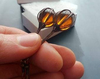 Wire earrings, glass beaded earrings, bohemian earrings, gift for women, funky, contempoprary jewelry, caramel beads, artistic earrings