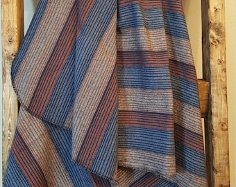 Navy, orange and grey stripe flannel baby blanket, extra large swaddle blanket, extra large receiving blanket, baby boy nursery