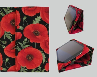Standable Kindle Cover, Kindle Fire Case, Nook Cover, Kobo Case, Nexus 7 Cover, Kindle Fire HDX, iPad Mini, Dell Venue Red Poppies