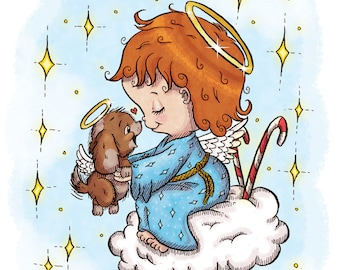 Little Angel with Puppy (DIGI STAMP)