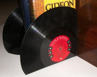 Vinyl Record Bookends - Unique Vintage LP Vinyl Record Bookends
