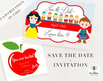 Snow White save the date + invitation SET (choose between 8 different designs). Customizable in 24hs