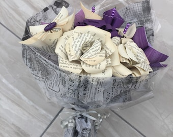 Paper flower bouquet, paper flowers, bridal bouquet, bridesmaid posies, paper roses, gift for her, everlasting flowers, Mother's Day