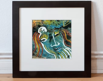 Small original 15/15 cm picture, painting with beautiful colors-portrait abstract