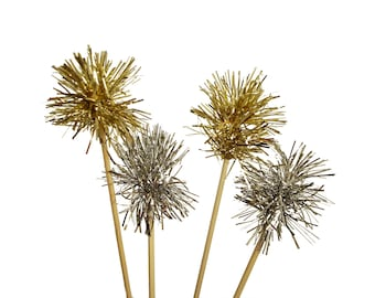 Sparkle Silver or Gold Tinsel Drink Stirrers 12CT, Christmas, Graduation, Swizzle Sticks, Cake Toppers, Valentine's Day, New Year