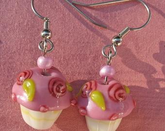 Lampglass Cupcake Dangle Earrings