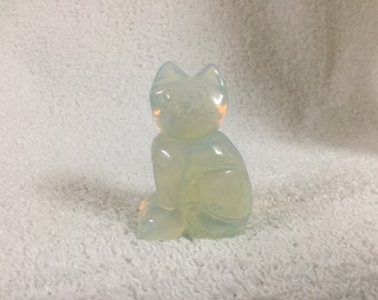 Cat statue: Opalite Cat Sitting Sideways. Cat Figurine. Shiny Cat Knick Knack