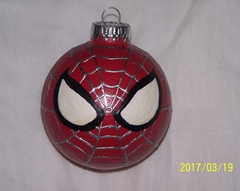 Hand Painted Spider-Man Ornament w/ Glow in the Dark Eyes