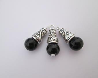 3 breloque perle noire et calotte métal argenté 21 x 8 mm