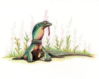 Goanna Lizard Original 8x10 inch Watercolor Painting