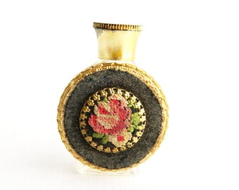 """Vintage Miniature Petit Point Perfume Bottle with Decorative Flower - Needle Point - Small - 2"""""""
