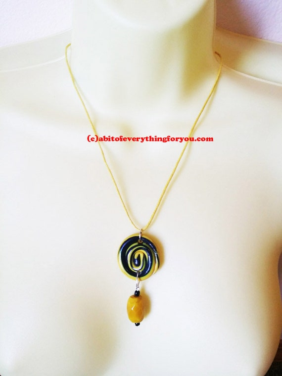 "CLAY circle NECKLACE YELLOW and black pendant glass bead drop 18"" cord handmade"