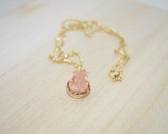 Round Peach Druzy Necklace