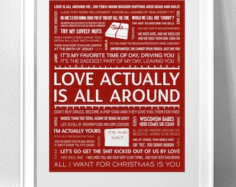 LOVE ACTUALLY Typography Print (WARNING: Explicit Language / Adult Content)