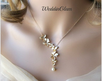 Orchid Jewelry Necklace Pearl Wedding Jewelry Orchid Cascading Flowers Bridal Bridesmaid Necklaces Prom Jewelry Golde necklace with flowers