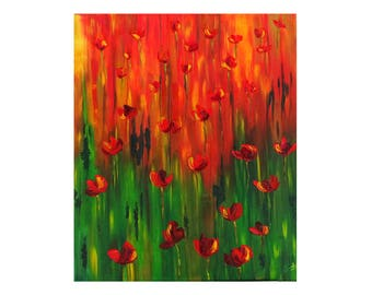 Drop poppies - oil painting, brush finish knife on canvas