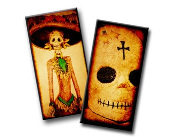Spooky Calavera Skulls - 1x2 inch - Etsy Digital Download