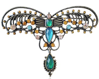 Vintage 19th Century Design Indian Filigree Multi Coloured Crystal Butterfly Brooch