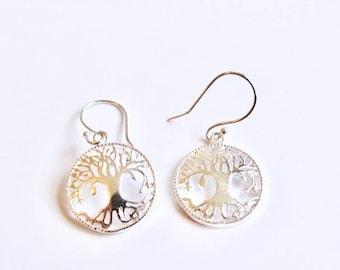 White Brass Circle Tree of Life Earrings, handmade,Yoga Earrings with hooks, Gift boxed,Free UK post