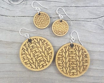 Knitting Earrings - Sterling Silver and Wood (small and large)