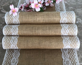 Burlap and Lace Table Runner - Wedding Rustic decor