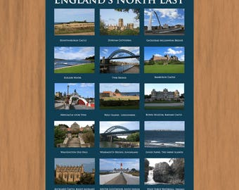 North East England. A3 Poster Print