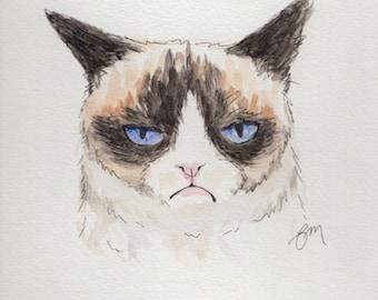 Original Grumpy Cat Watercolor Painting Portrait (9x12): Gift for Cat Lover